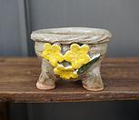 꽃叶子手工花盆1(옐로우)_Handmade 'Flower pot'