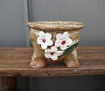 꽃叶子手工花盆1(白色的)_Handmade 'Flower pot'