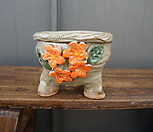 꽃叶子手工花盆2(橙色)_Handmade 'Flower pot'
