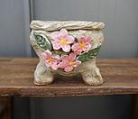 꽃叶子手工花盆2(粉色)_Handmade 'Flower pot'