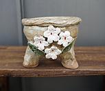 꽃叶子手工花盆2(白色的)_Handmade 'Flower pot'