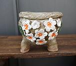 꽃叶子手工花盆3(白色的)_Handmade 'Flower pot'