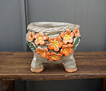 꽃叶子手工花盆3(橙色)_Handmade 'Flower pot'