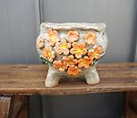 꽃叶子手工花盆4(橙色)_Handmade 'Flower pot'