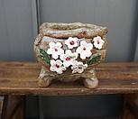 꽃叶子手工花盆4(白色的)_Handmade 'Flower pot'