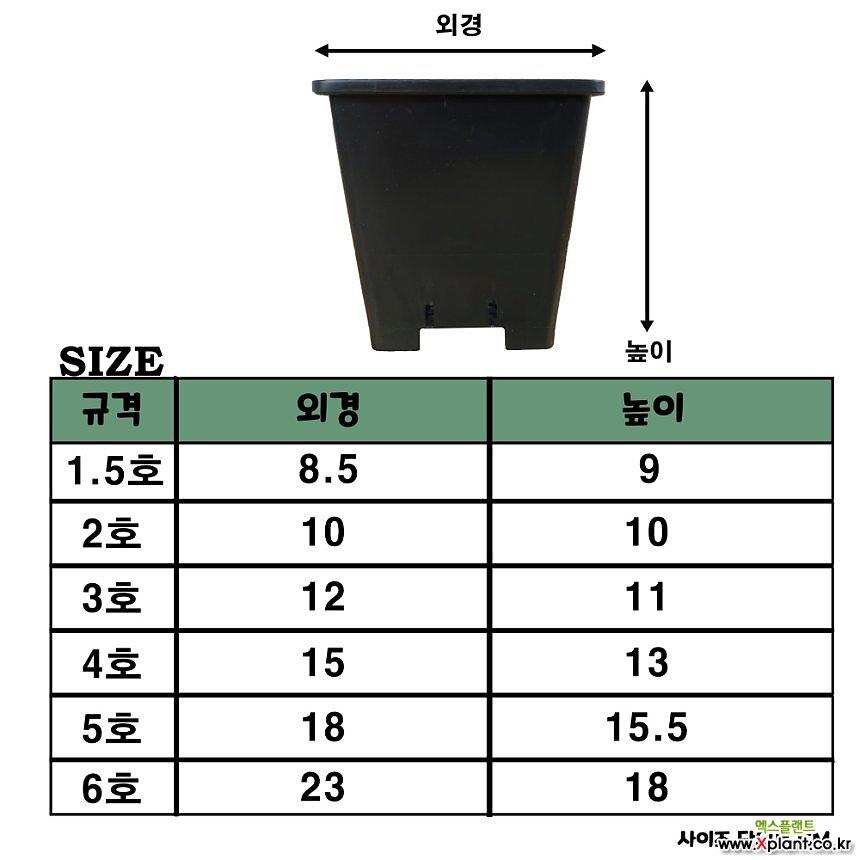 플라스틱 사각화분 /검정 1.5호-6호