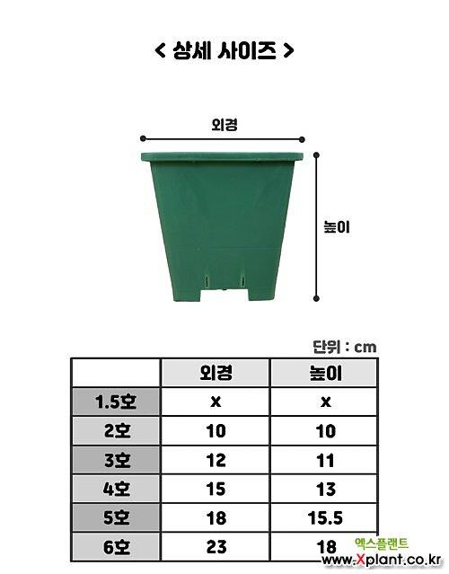 플라스틱 사각 화분 (그린색 2호-6호)