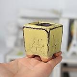 미니 빈티지사각(옐로우) - 최고급 수제 화분 예쁜화분 다육화분 베란다화분 개업화분 특이한화분 선물화분 작가도예-YMini-사각형 