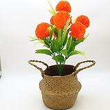 주황색 폼폼 조화-명절 성묘용 꽃다발|